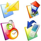 Icon set: home, mail, cell phone, clock. — Stock Photo