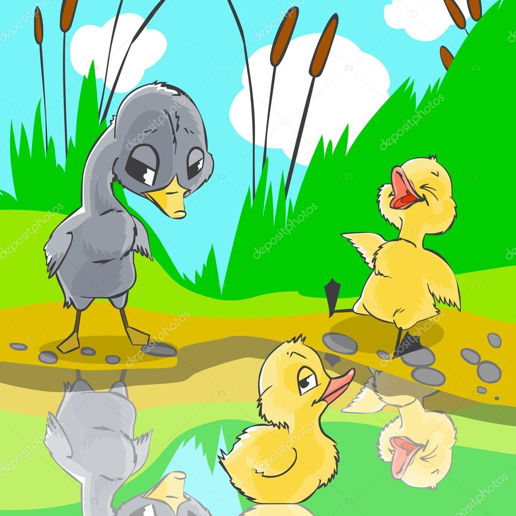 Illustration for fairytale Ugly duckling. Ducks mocked at ugly duckling.  Stock Photo #5450930