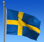 Flag of Sweden against blue sky. — Stock Photo