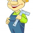 Funny boy with pencil and a ruler — Stock Photo