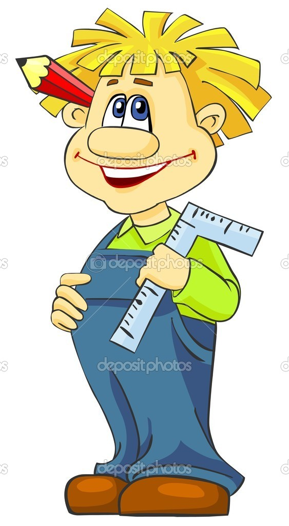 Cartoon illustration of happy boy with pencil and a ruler.  Stock Photo #5493517