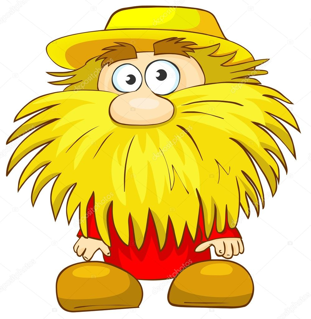 Cartoon illustration of funny countryman with beard. — Stock Photo #5545645