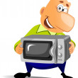 Happy man with microwave oven. - Stock Photo