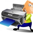 Happy man with printer - Stock Photo