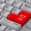 "Red button ""Like"" with a heart. — Stock Photo"