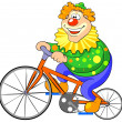 Happy clown riding on a bike. — Stock Vector