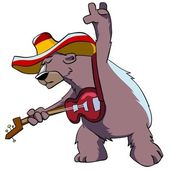 Bear in hat playing guitar. — Stock Photo