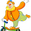 Happy clown riding a scooter. — Stock Photo