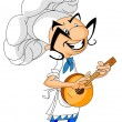 Stock Vector: Mexican chef playing guitar.