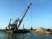 Floating dredging platform on the sea — Stock Photo