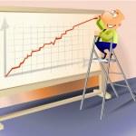 Businessman drawing a rising graph. — Stock Photo