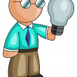 Man with a light bulb - Foto Stock