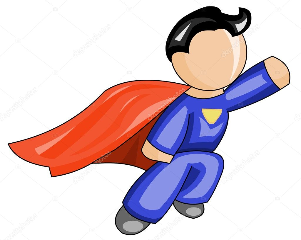 Vector illustration of  super hero hasten to help. — Stock Vector #6207720