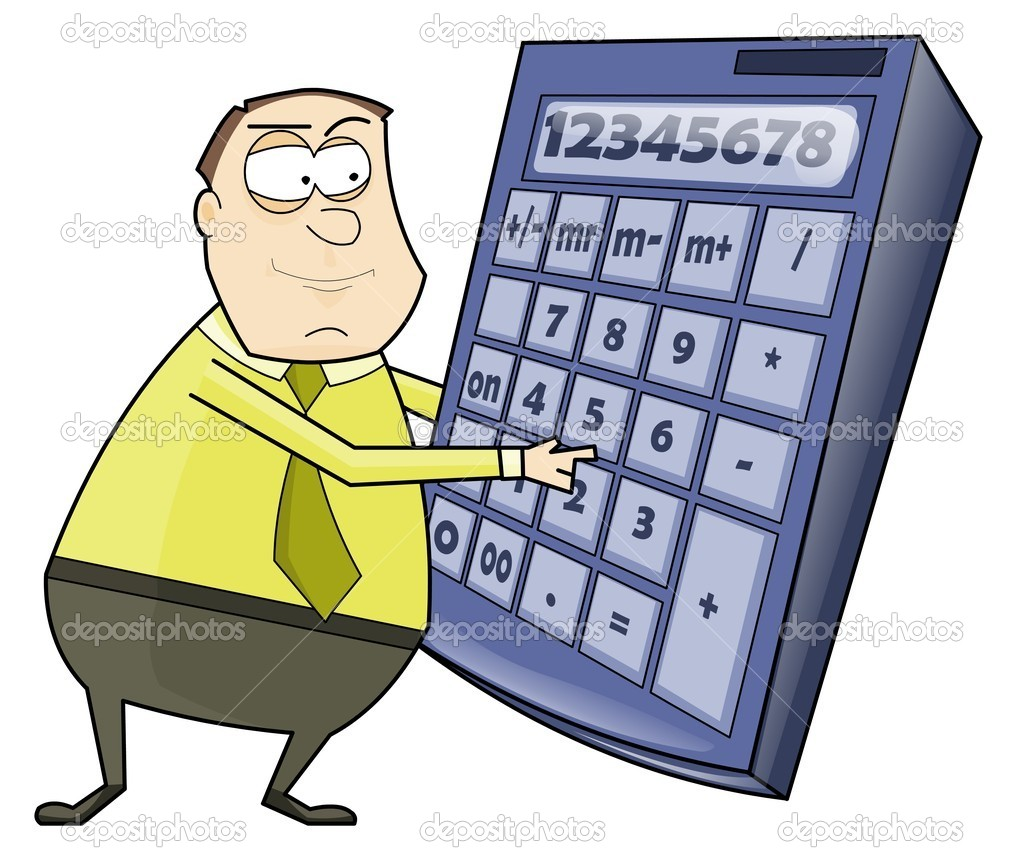 Cartoon businessman with huge calculator on a white background.  Stock Photo #6719786