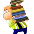 Royalty-Free Stock Photo: Man with a big pile of books.