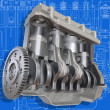 3D cut of car motor on the engineering drawing. Image with clipping path. — Stock Photo #5571449
