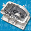 3D cut of reducer on the engineering drawing. Image with clipping path. — Stock Photo #5781074