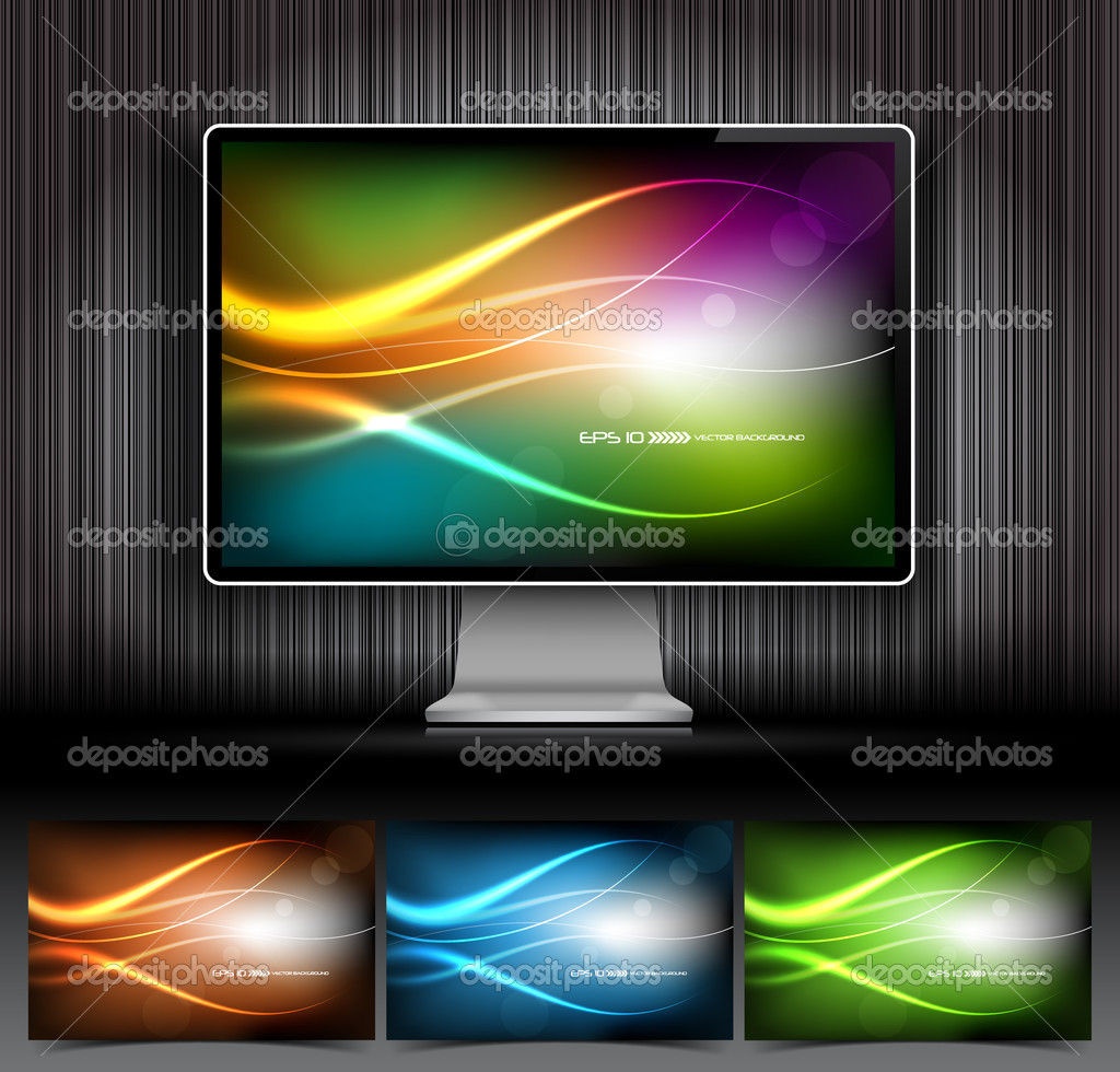 Vector digital LCD monitor and four abstract backgrounds — Stock Vector #5820498