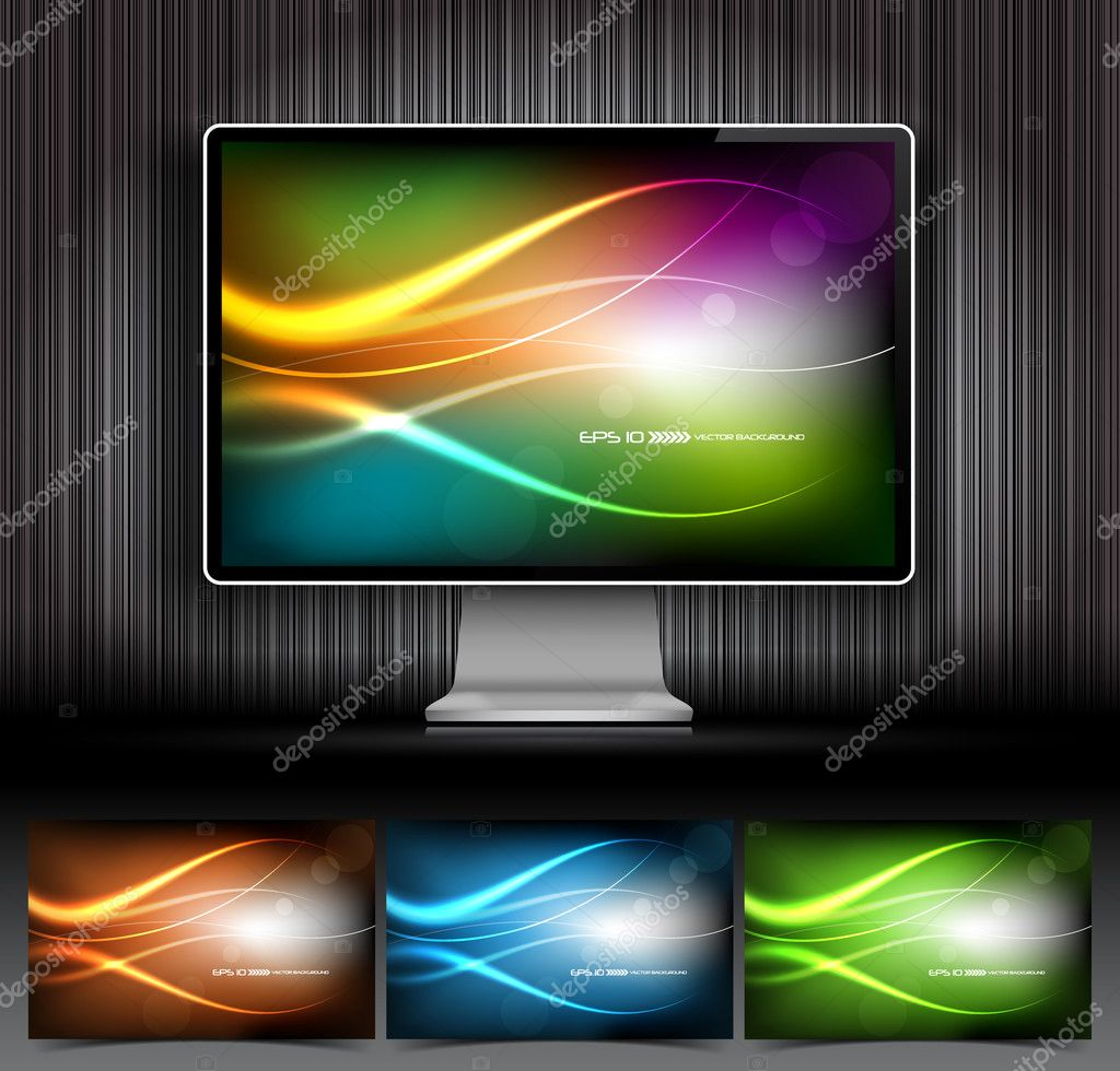 Vector digital LCD monitor and four abstract backgrounds — Stok Vektör #5820498