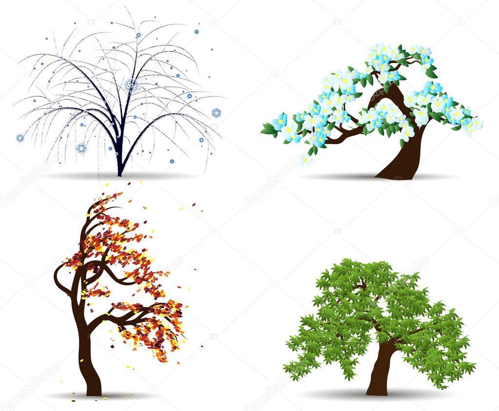Four season trees — Stock Vector © Ninuella #6541736