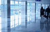 Airport interior blue — Stock Photo