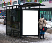 Winter bus stop — Stock Photo