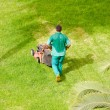 Man mowing grass — 图库照片