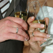 Stock Photo: Wedding couple and champange