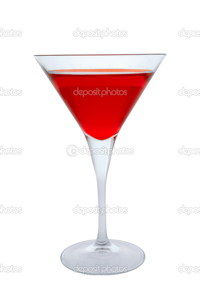 Red cocktail glass on a clean white background. — Stock Photo #6361081
