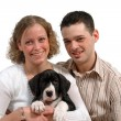 Young couple and dog — Stock Photo #6483873