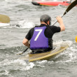 Man is playing kayak polo — Stock Photo