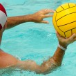 Man is playing water polo — Stock Photo