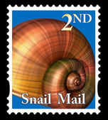 Snail mail stamp — Stock Photo