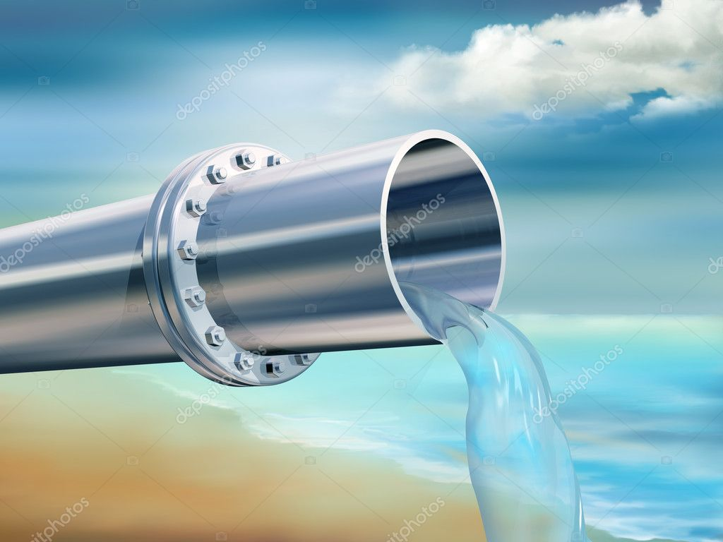 Illustration of a water pipe providing clean drinking water  Stock Photo #5529156