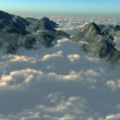 Mountain tops from above the clouds - Stockfoto