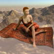 Flying a magic carpet over the clouds — Stockfoto