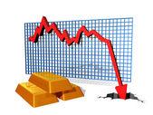 Fallender goldpreis — Stockfoto