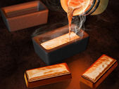 Gold ingot casting — Stock Photo