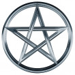Silver pentagram - Stock Photo