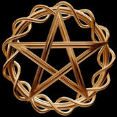 Golden pentagram — Stock Photo
