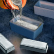 Silver ingot casting — Stock Photo