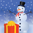 Snowman with gift box — Stock Vector