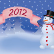 Snowman with banner scroll 2012 — Stock Vector