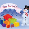 Snowman near a heap of new year presents — Imagen vectorial
