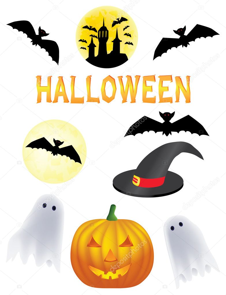 Halloween vector clipart: pumpkin, bat and other  Stock Vector #5532719