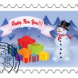 Happy New Year stamp — Stockvectorbeeld
