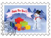 Felice anno nuovo francobollo — Vettoriale Stock