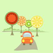 A car and fruit-like trees — Stok Vektör