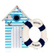 Beach hut with live buoy — Stock Photo
