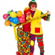 Couple funny clowns with balloons in party zone — Stock Photo #5592535